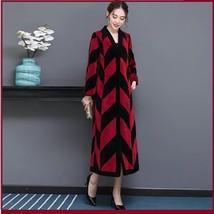 Luxury Long Red And Black V Neck Chevron Design Lamb Shearling Sheepskin Coat image 3
