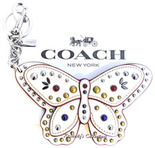 COACH Large BUTTERFLY Applique Embellished Studded Keychain Bag Charm F5... - $53.12