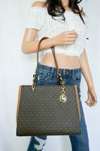 Nwt Michael Kors Sofia Large Pvc Leather Shoulder Tote Bag Mk Signature Brown - $108.89