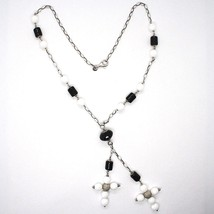 Silver necklace 925, Onyx Black Tube, Double Cross Pendant, Chain Oval image 2