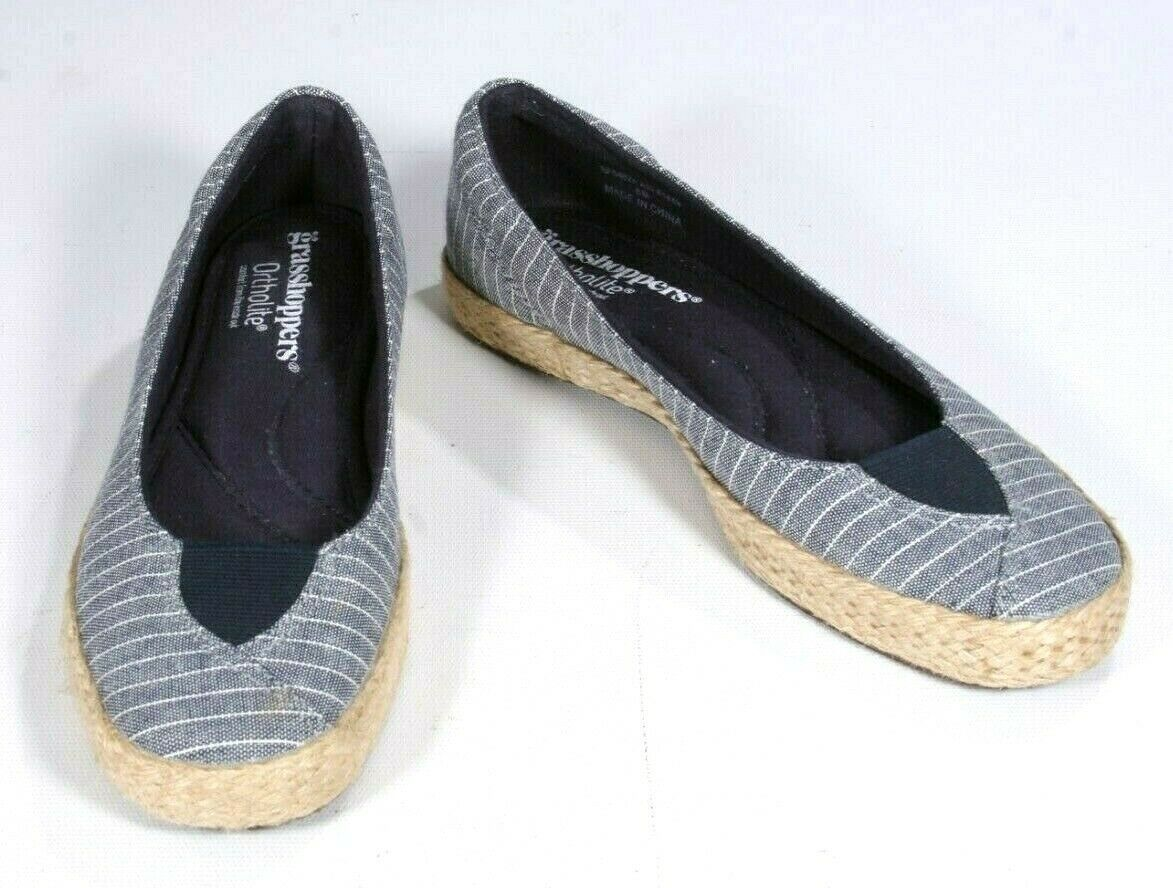 Grasshoppers Ortholite Light Denim Blue Stripe Macrame Espadrilles Flats Size 6M - $24.19