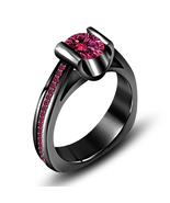 1.25 Ct Pink Sapphire Black Gold Plated 925 Silver Solitaire With Accents Ring - $86.54