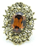 VTG Gold Tone Floral Filigree Topaz Glass Rhinestone Flower Pin Brooch P... - $29.70