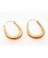 9 Carat Gold Oval Hoop Earrings - $39.09