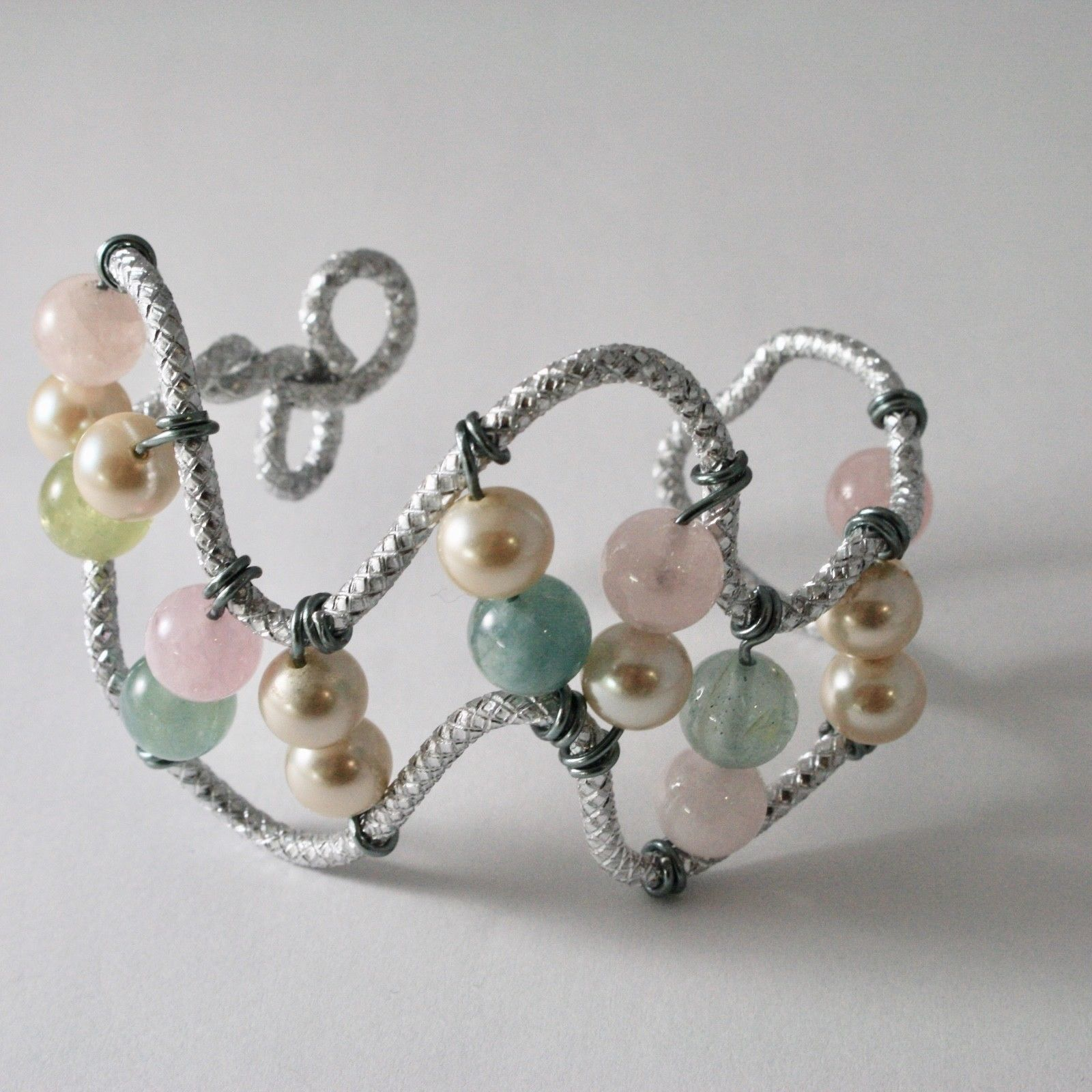 BRACELET ALUMINUM WITH AQUAMARINE NATURAL MULTICOLORED PEARLS