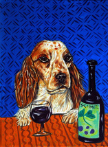 animal Art oil painting printed on canvas home decor SPANIEL dog wine  - $14.99+
