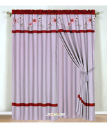 4Pc Periwrinkle Floral Embroidery Curtain Set Lilac Burgundy Valance Dra... - $40.89