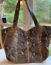 MICHAEL KORS Moxley Tote Python Leather Handbag Purse Used Gold Zipper $... - $128.65