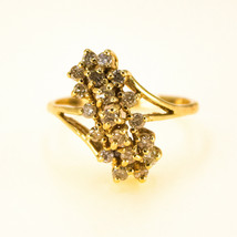 14k Gold Vintage diamond cluster Ring 0.60ct UK size U PLUS SIZE BHS - $1,752.96