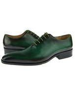 Genuine Leather Burnished Green Tone Oxford Made To Order Black Sole Lac... - $139.90+