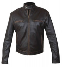 Contraband Mark Wahlberg Mens Moto Slim Fit Distressed Brown Leather Jacket image 2