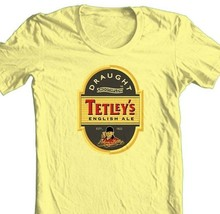 Tetley's English Ale T-shirt beer 100% cotton graphic printed yellow tee image 2