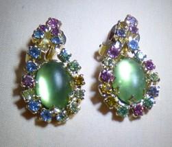LOVELY Vintage 1950s Green Jelly Belly Multi Stone Dangle Clip Earrings - $40.00
