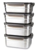 Stainless Steel Airtight Food Storage Container Set(1000ml 2-Count, 850ml 2-Coun