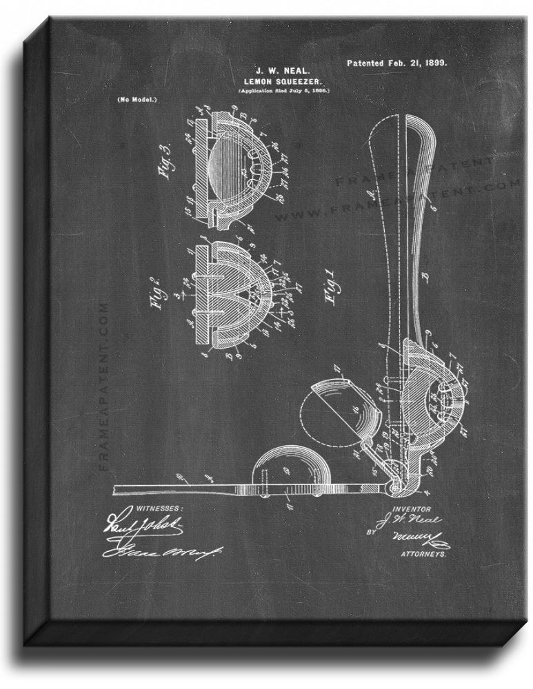 Primary image for Lemon Squeezer Patent Print Chalkboard on Canvas