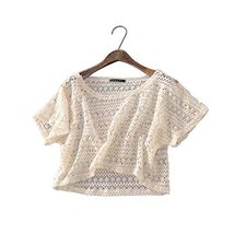 Women Fashion Shawl Capelet All-match Short Shirt Blouse, BEIGE