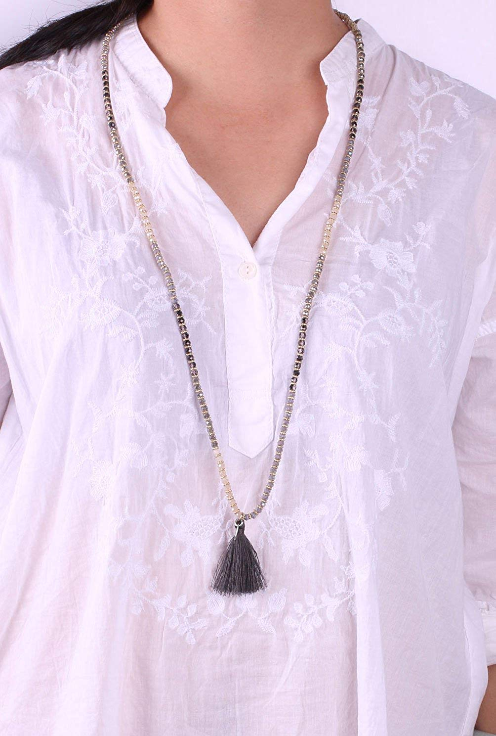KELITCH Crysta AB Beaded Long Necklace Color Tassel Pendant Women Strand Bracele