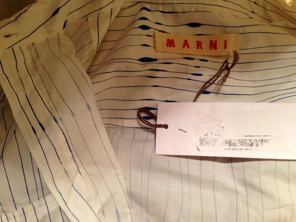 MARNI designer blue ink button shirt NEW NWT Eur 38 sold out Made in Italy RARE!