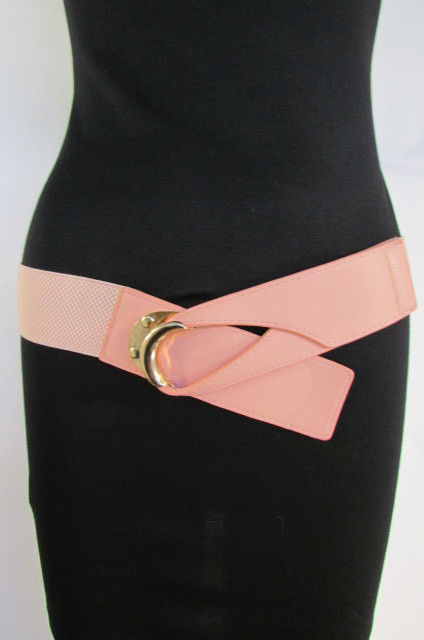 "New Women Belt Fashion Black Beige Pastel Pink Teal Elastic Hook 26""-35"" XS S M"