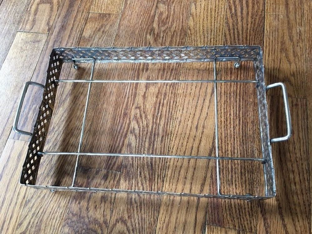 Vintage 3 Section Glass Serving Platter Chrome Silver Giftware Silver Tray