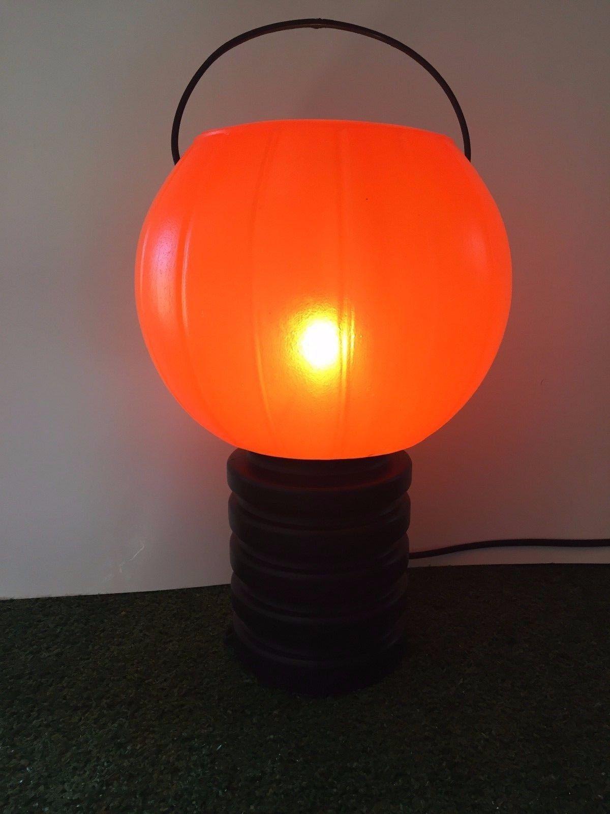 "Vintage 12"" Blinky Halloween Blow Mold Jack-O-Lantern Pumpkin On Black Base #3"