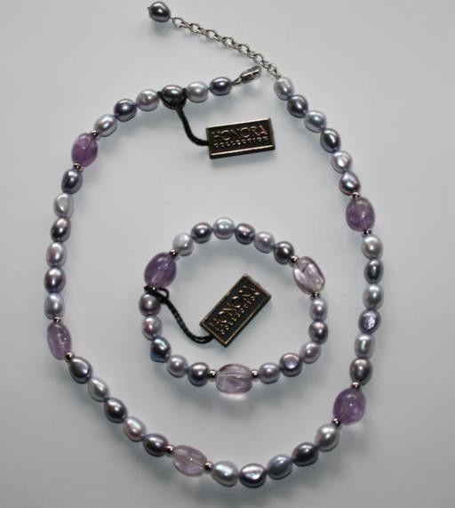 HONORA Lilac Purple FW Cultured Pearl 925 Sterling Necklace & Bracelet Set  D12
