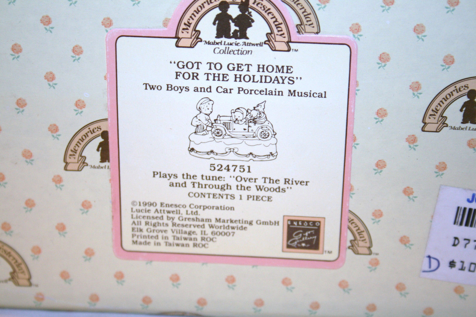 """Memories Of Yesterday 1990 """"Got To Get Home For The Holidays"""" Music Box #524751"""