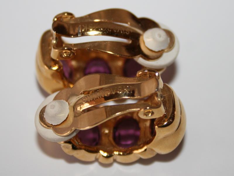 Swarovski Swan Amethyst Crystal Gold Tone Clip Earrings J235