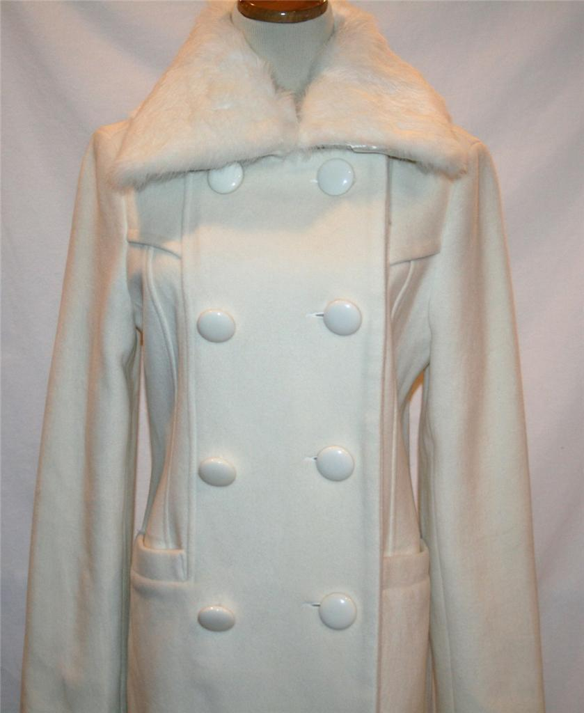 BEBE Winter White Wool Double Breasted Coat -Removable Rabbit Collar- SMALL 1200