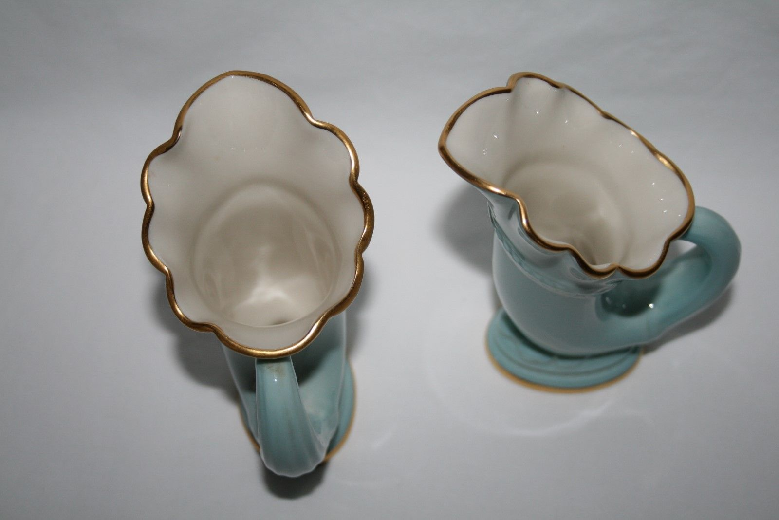 Vintage Lenox USA Green Mark Set/2 Sky Blue Horn of Plenty Cornucopia Vases