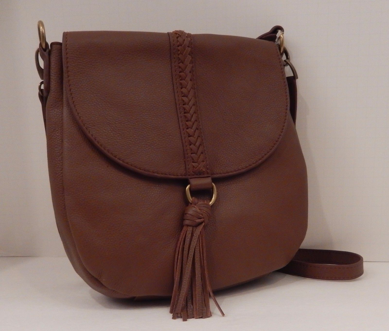LUCKY BRAND BROWN BRANDY TEXTURED LEATHER ALI SHOULDER HOBO CROSSBODY $188