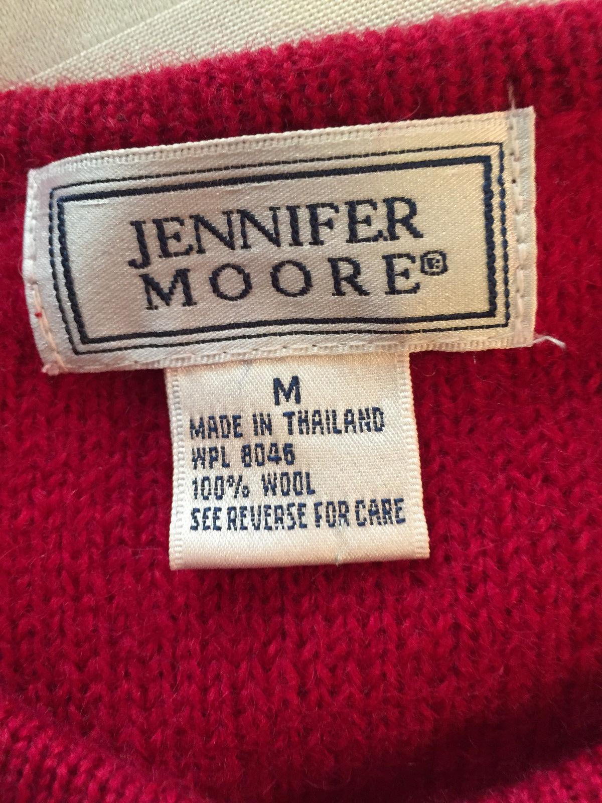 JENNIFER MOORE WOMEN RED LONG SLEEVE 100% WOOL BUTTON FRONT JACKET MEDIUM M