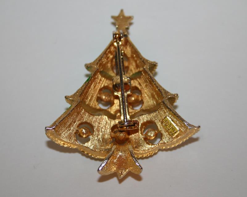 Vintage JJ Jonette Jewelry Gold Toned Rhinestone Christmas Tree Brooch  J209GS