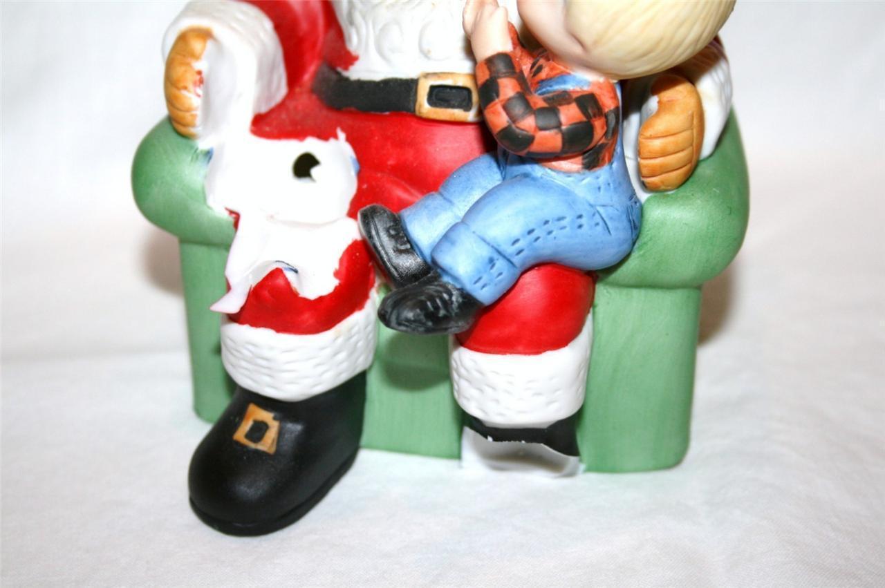 ENESCO Country Cousins 1982 Santa Scooter Katy Music Box  -Cracked-  #979