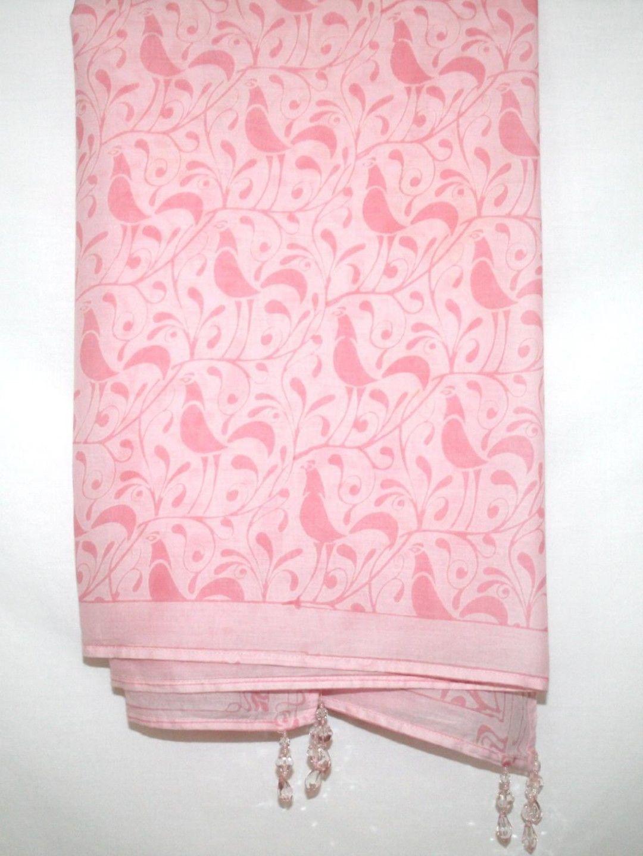 CALYPSO CHRISTIANE CELLE Light Pink Bird Cover-Up Sarong Scarf Shawl Pareo Wrap