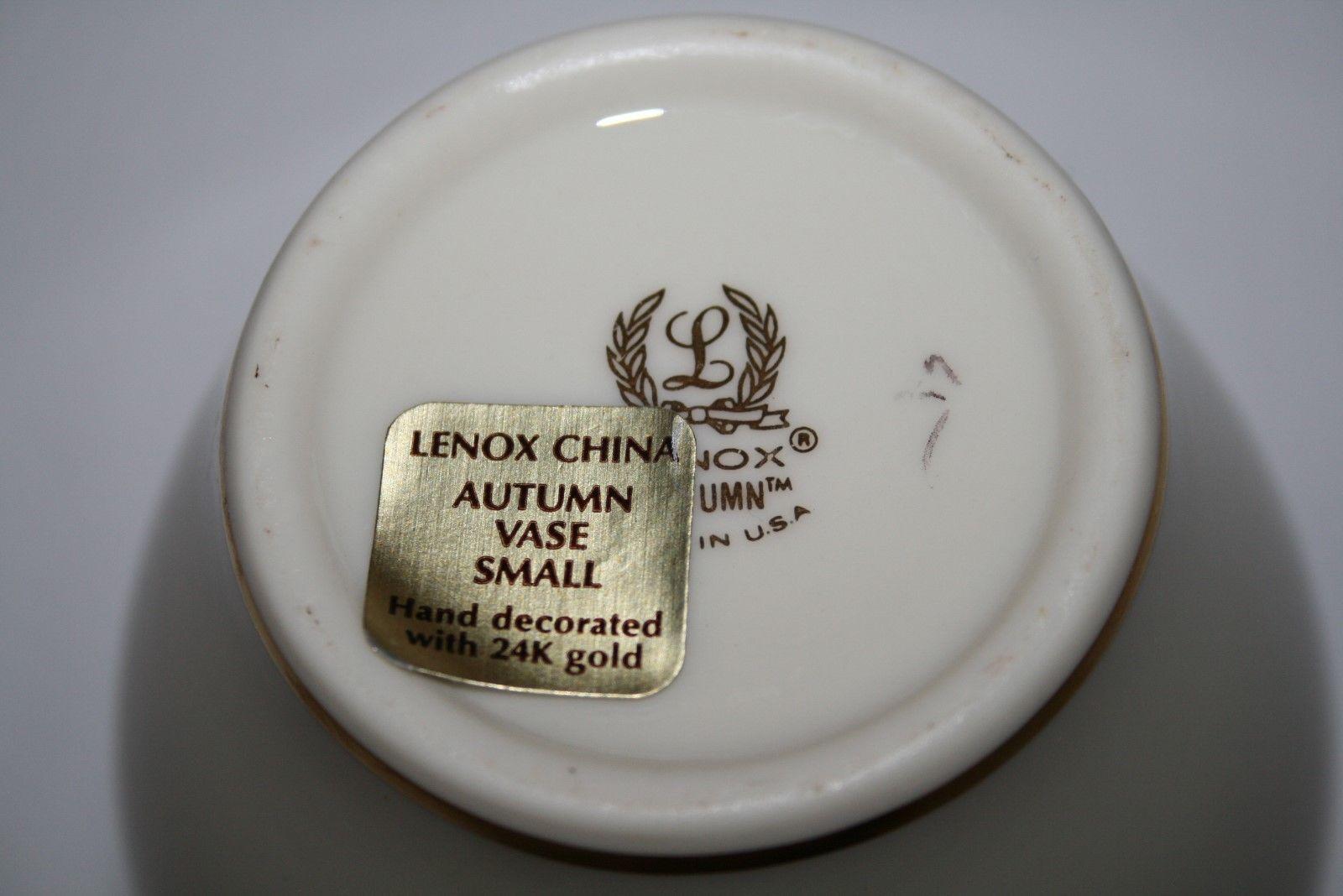 "Lenox, Gold Backstamp, Autumn 24k Trim Small 4.5"" Vase -Tag Attached-"