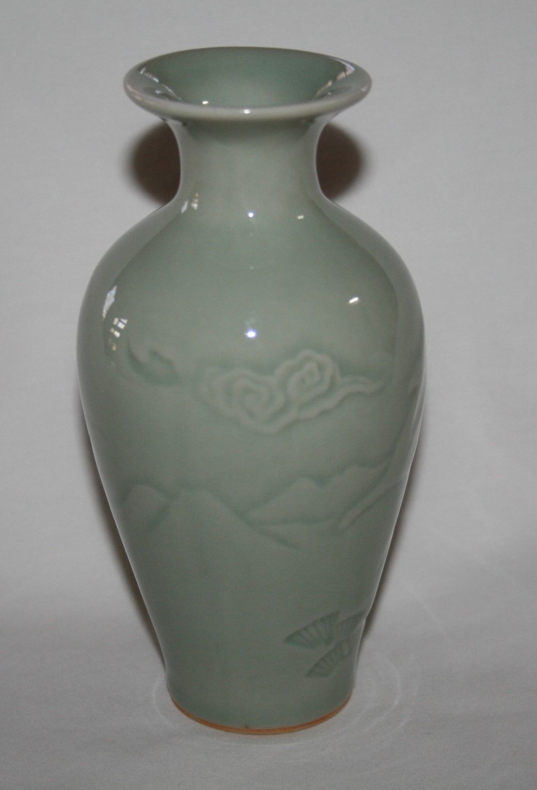 """Chinese Celadon Green 5.5"""" Vase with Deer & Mountain Scenes"""