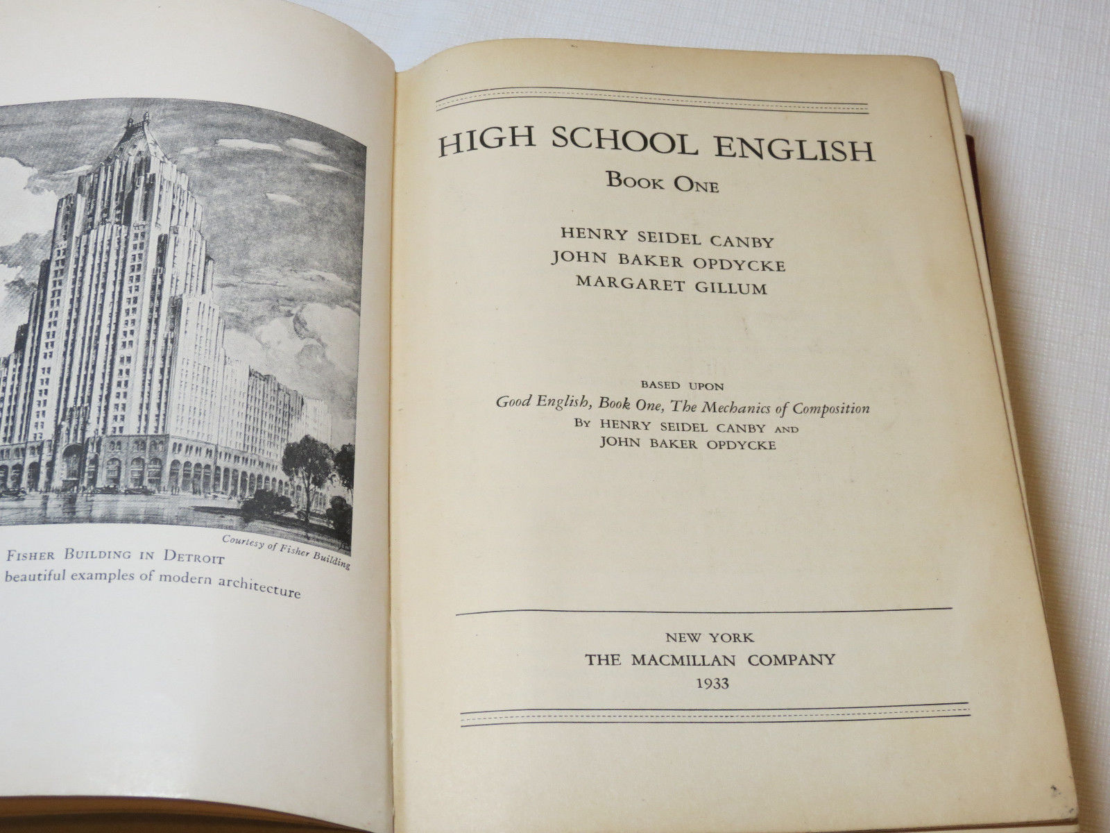 High School English Book One 1933 Henry Seidel Canby book without dust cover #%