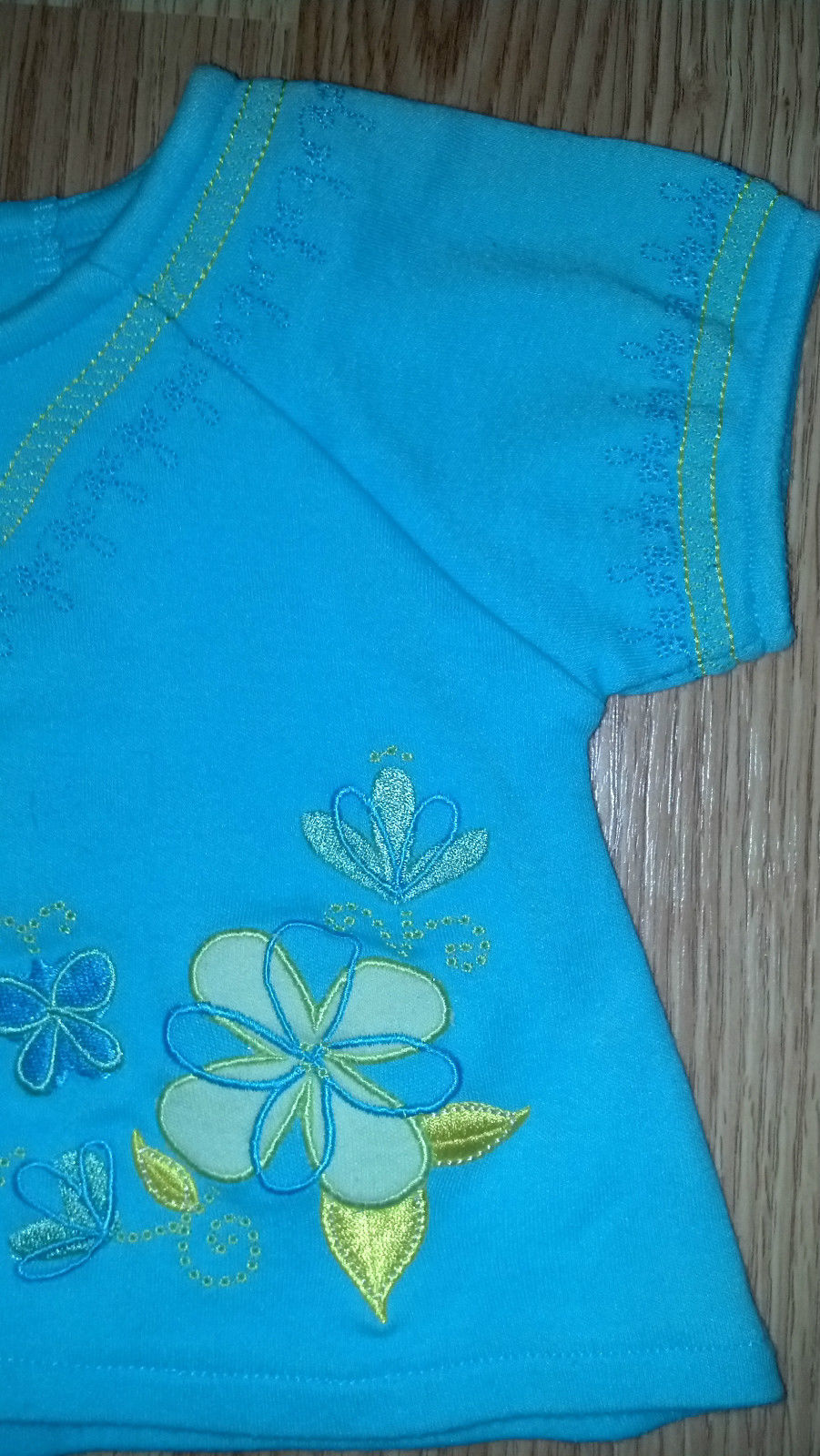 Girl's Size 3/6 M Month 3 Piece Blue Floral Embroidered Top, Short Outfit +