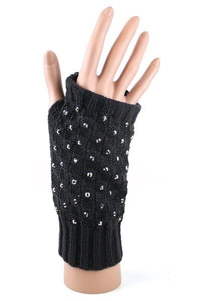 NEW WARM WOMEN ARM KNITTED LONG FINGERLESS GLOVES FUR FAUX WINTER MITTEN FUR RX