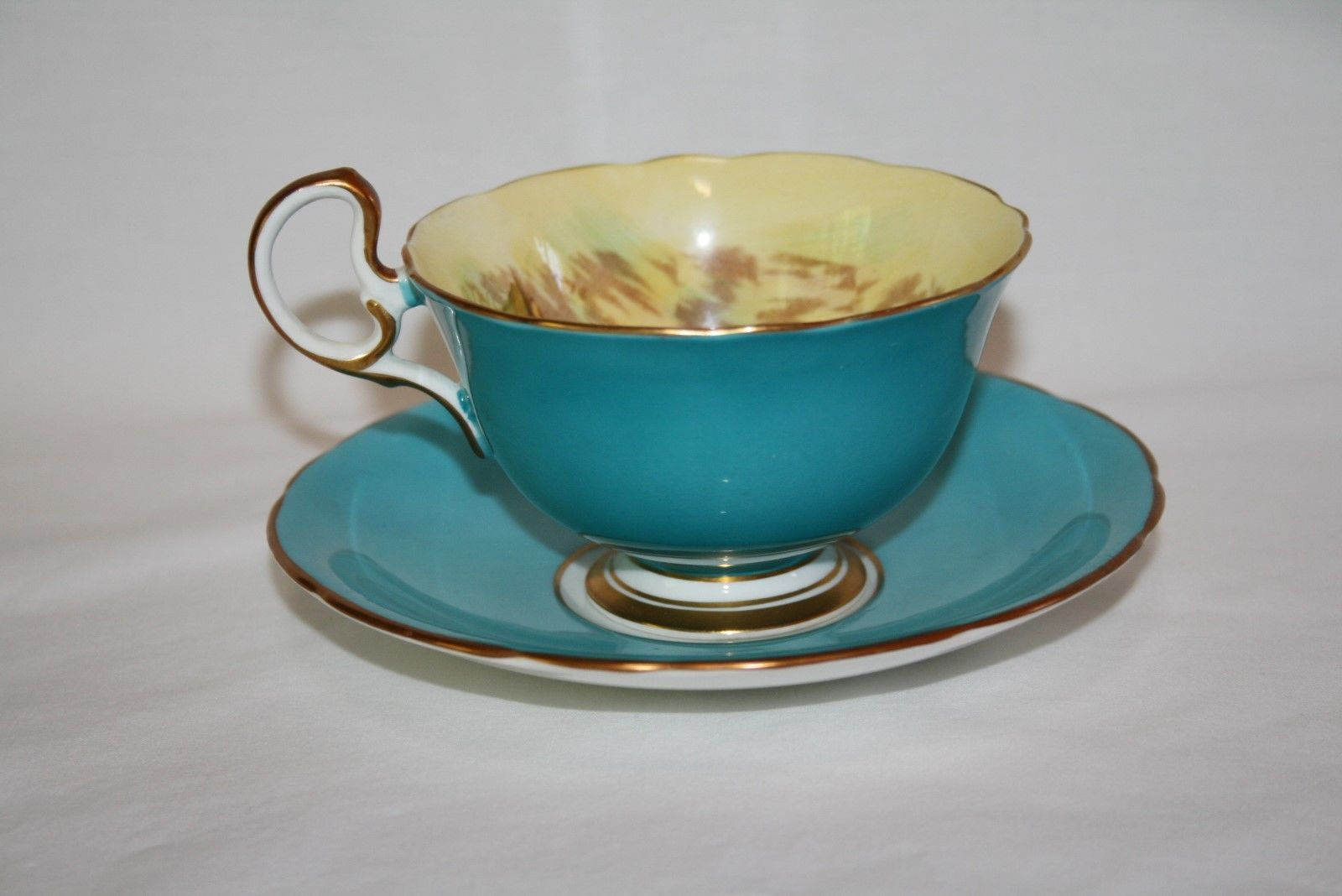 Aynsley C439 Signed D Jones Turquoise, Yellow, Gold, Fruit Tea Cup & Saucer Set