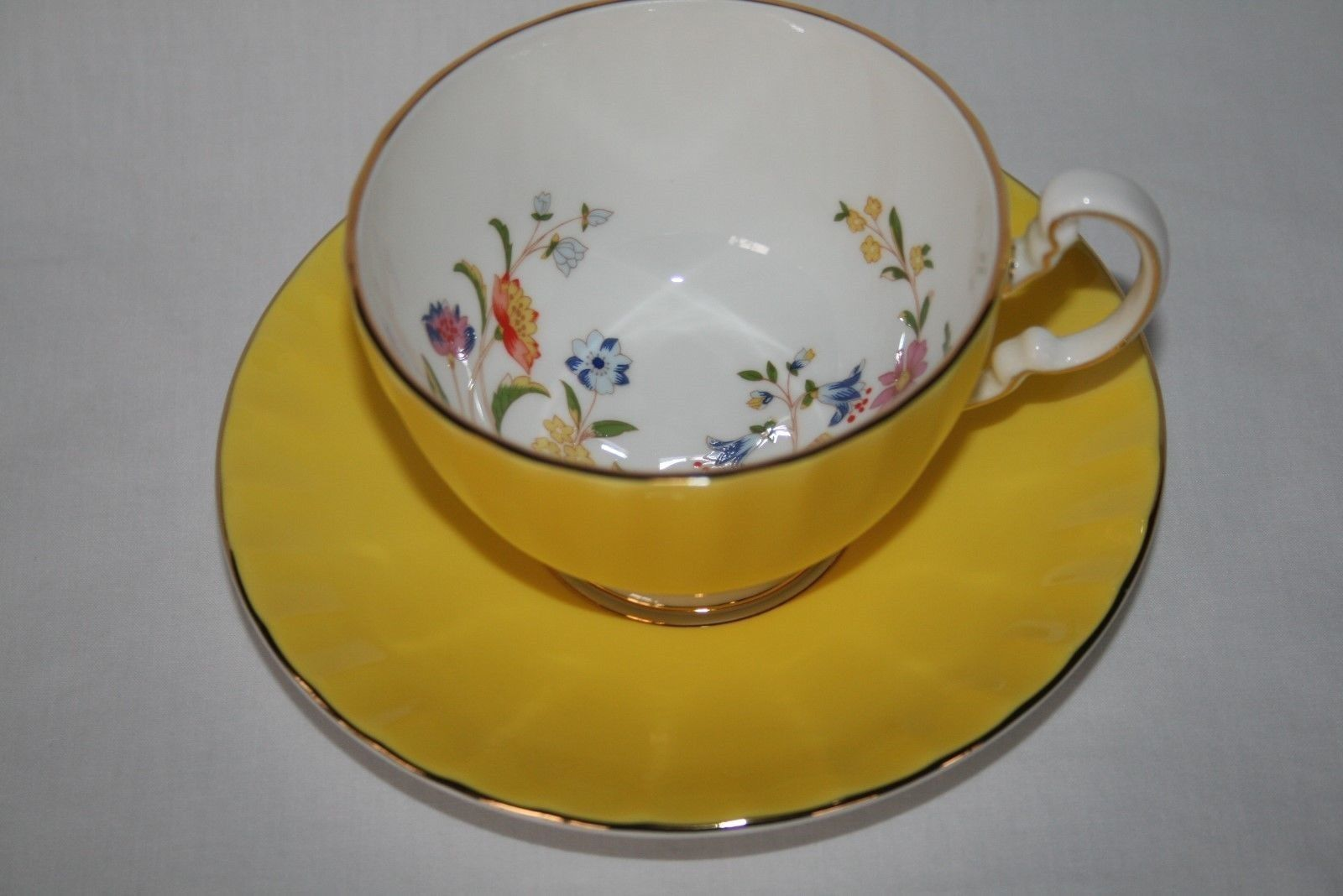Aynsley England Bright Yellow Cottage Garden Butterfly Florals Cup & Saucer Set
