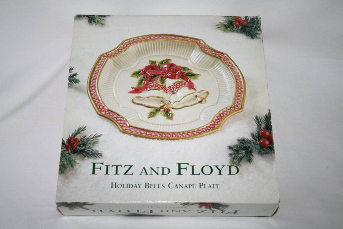 Fitz & Floyd Holiday Bells Canape Plate  #1393