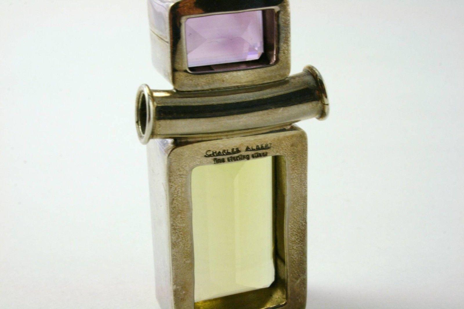 Charles Albert Sterling Silver Topaz Amethyst Citrine Gemstone Pendant J126JS