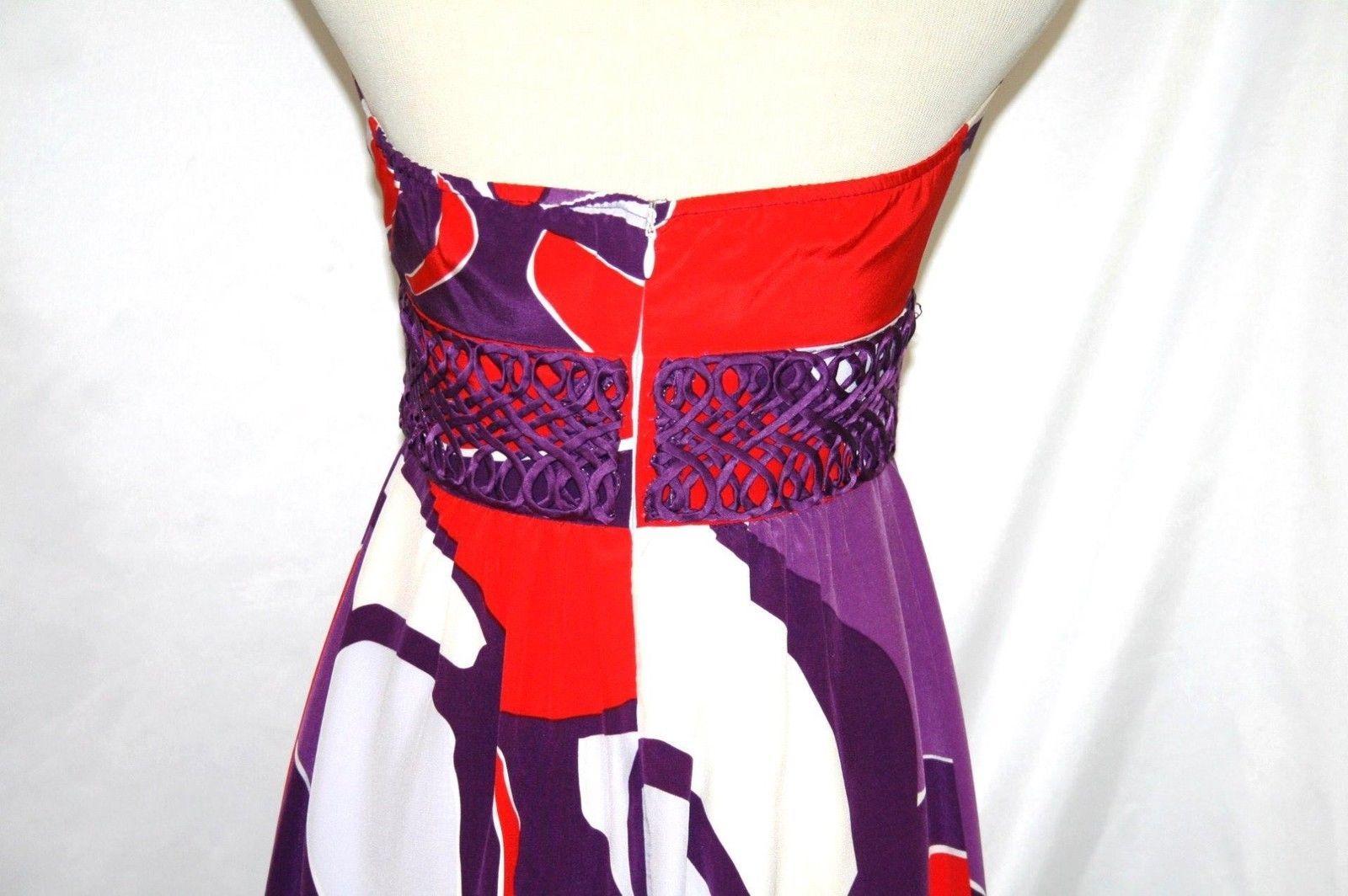 Beth Bowley Silk Purple Red Silk Halter Dress Size 2   #832