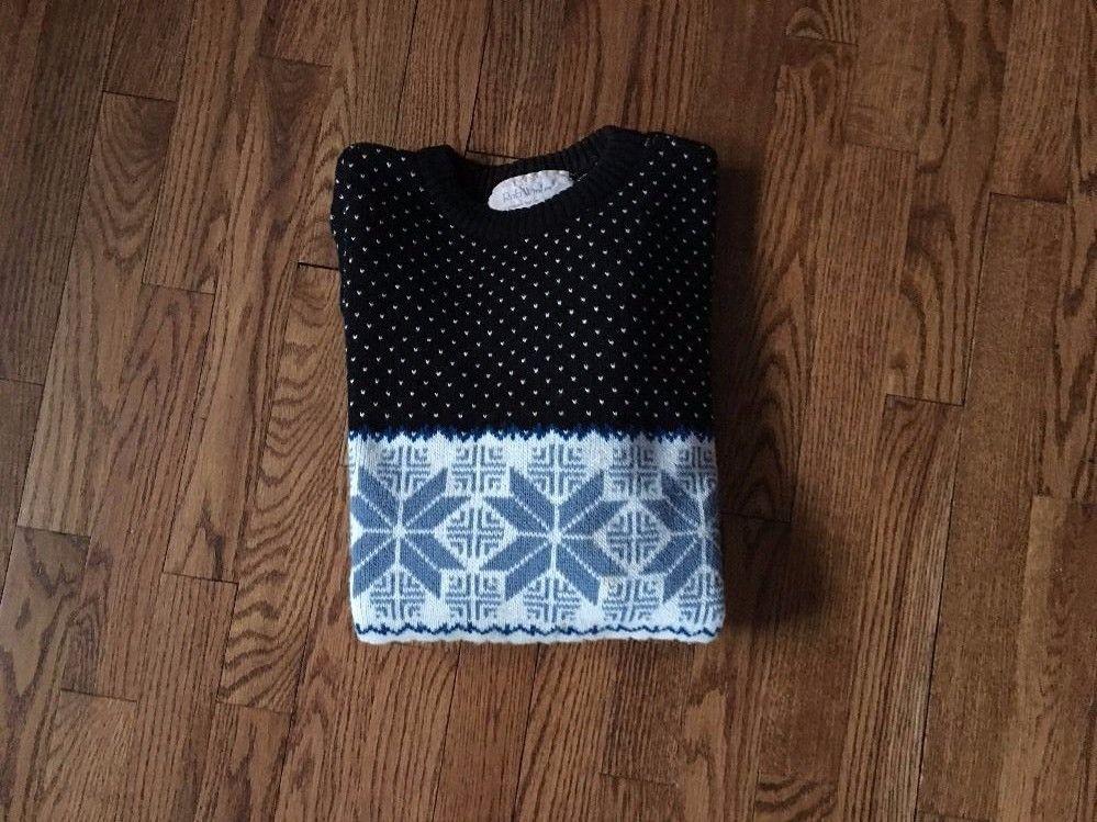 Vintage Rob Winter 100% Acrylic Winter Sweater Blue Black Cream Size ?