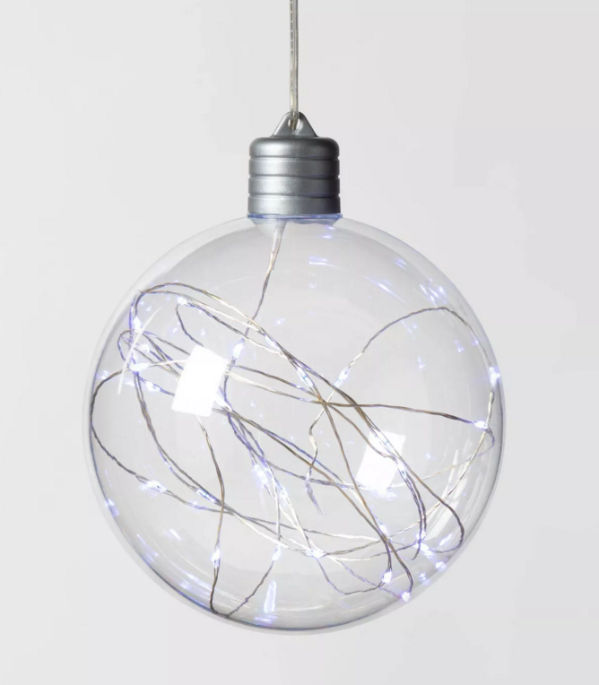 Christmas LED Clear Sphere with 30 Dew Drop String Lights Warm White Silver Wire