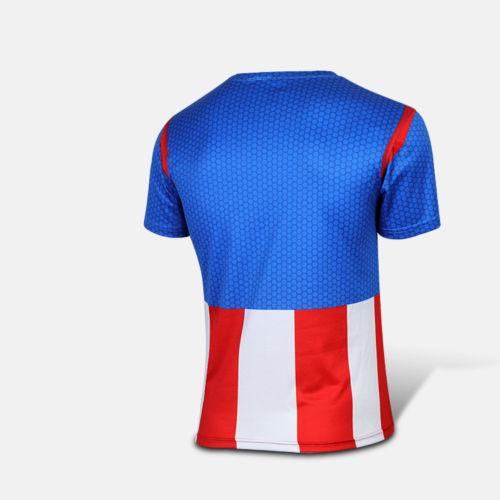 Men Costume T-shirt Fit Top Marvel DC Comics Jersey Cycling Top Captain  America bdc6606b6