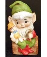 Homco Christmas Elf Figurine Trunk Doll Hammer Elves - $6.95