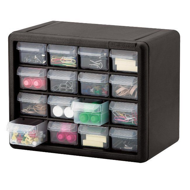 Gray 16 drawer plastic storage organizer box craft cabinet for Craft storage boxes plastic